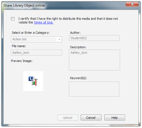 Share Library Objects Window