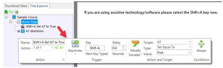 Ask the learner to trigger an action that modifies a variable so that you can track if he or she is using assistive technology.