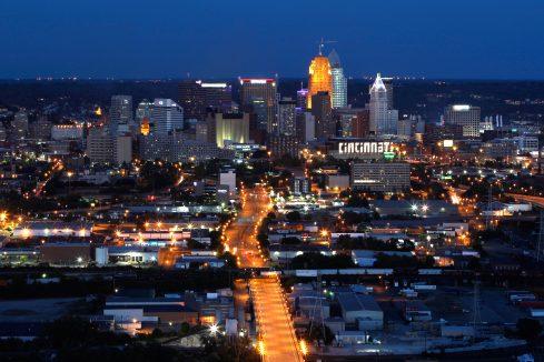 downtown cincinnati aerial at night