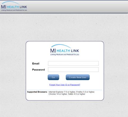 Customized MI Health Link Login Screen