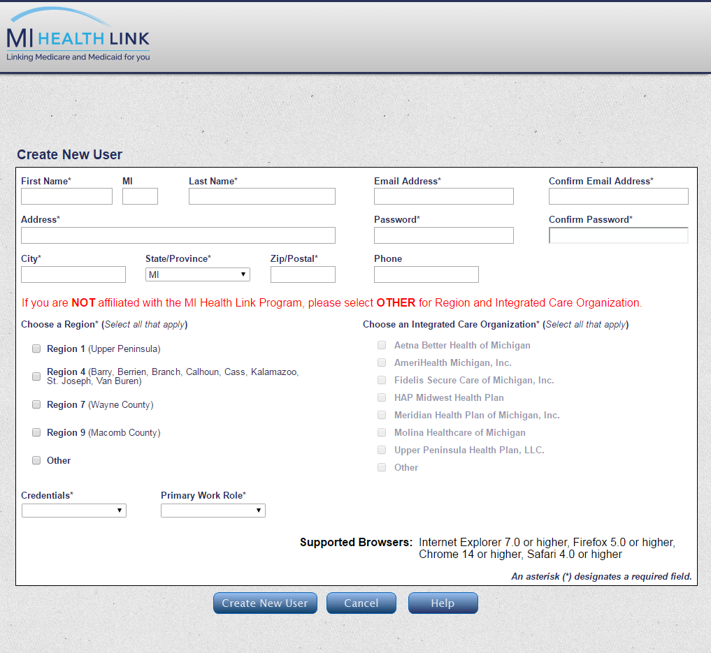 Customized MI Health Link Registration Screen for New Users