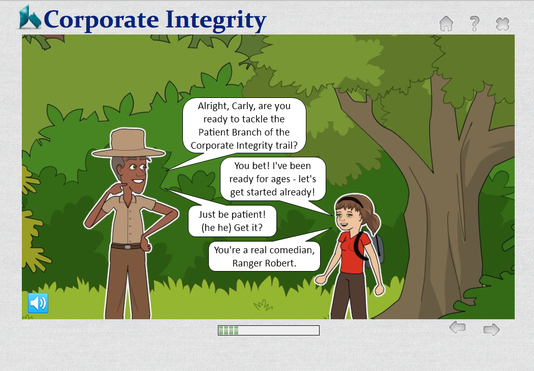 The Corporate Integrity trail includes a few quick jokes to make it more interesting